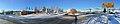 Universitetet i Sørøst-Norge (USN) Bakkenteigen Kulturhus Raveien Horten Norway snowy road roundabout road sign low sunlight long shadows (distorted panorama 2019-01-17).jpg