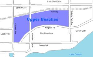 Upper Beaches - Image: Upper beaches map