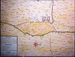 Pima Revolt - A Spanish colonial map of Tubac from 1767, the site of the San Ignacio de Tubac Presidio, constructed as a result of conflicts with the Pima and other natives.