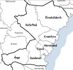 Västernorrland County - Municipal location map