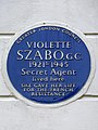 VIOLETTE SZABO. G.C. 1921-1945 Secret Agent lived here SHE GAVE HER LIFE FOR THE FRENCH RESISTANCE.jpg