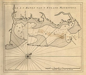 Mauritius - Dutch map of a coast of Mauritius. The Dutch were the first to establish a permanent human settlement in Mauritius. Dutch colonists named it after Maurice of Nassau, Prince of Orange and the Stadtholder of the Dutch Republic.