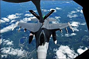 158th Fighter Wing - 158th Fighter Wing, Vermont Air National Guard F-16 being refueled by a New Hampshire KC-135