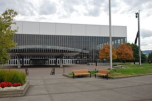 Veterans Memorial Coliseum (Portland, Oregon) - Northeast side and entrance in 2013
