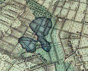 Five Points, Manhattan - The Collect Pond and Five Points on the topographical map by Egbert Viele. Five Points is where Park Street (formerly Cross Street) intersects with Baxter Street (formerly Orange Street) and Worth Street (formerly Anthony Street).