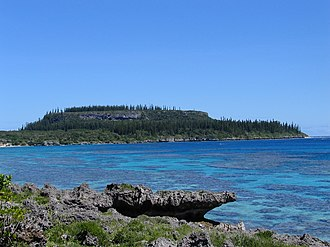 Maré Island - Cap Wabao on Maré, showing the rough coral rock (foreground) and narrow fringing reef. The high, flat peak of Cap Wabao in the background is a former reef islet. The characteristic Araucaria trees cover most flat land near the sea.