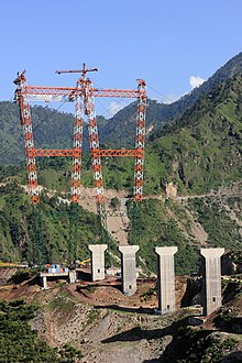 View of Kauri side, Chenab Bridge in 2013 - 7770b (9288239078).jpg