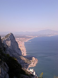 View of the Mediterranean shore of the Cadiz province from the top of the Rock of Gibraltar.jpg