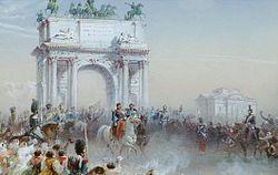 Napoleone III e Vittorio Emanuele II entrano a Milano l'8 giugno 1859