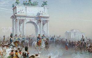 L'ingresso trionfale di Vittorio Emanuele II e Napoleone III in Milano attraverso l'Arco della Pace