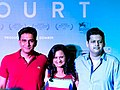 Vivek Gomber, Chaitanya Tamhane, and Geetanjali Kulkarni at the trailer launch of Court.jpg