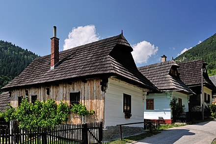 Wooden folk architecture can be seen in the well-preserved village of Vlkolinec, a UNESCO World Heritage Site Vlkolinec 02.jpg