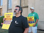 WI Union activists protest outside McCain Town Hall in Racine, July 31, 2008 (2723001888).jpg