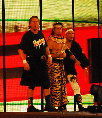 Jimmy Snuka - Snuka (center) with Ricky Steamboat (right) and Roddy Piper before their match against Chris Jericho at WrestleMania XXV