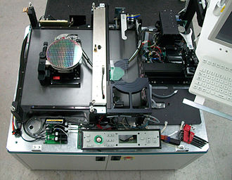 Wafer testing - 8-inch semiconductor wafer prober, shown with cover panels, tester and probe card elements removed.