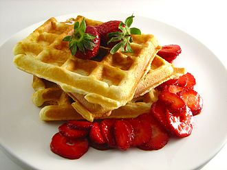 Waffle - Waffles with strawberry topping