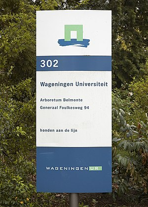 Wageningen University and Research Centre - Building sign of WUR