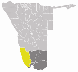 ǃNamiǂNûs Constituency - ǃNamiǂNûs constituency (yellow) in the ǁKaras Region (dark grey)