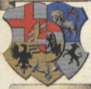 Margrave Andrew of Burgau - His coat of arms when he was Bishop of Constance