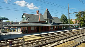 Philadelphia Main Line - Wayne Station on SEPTA's Paoli/Thorndale line after renovations in 2010.