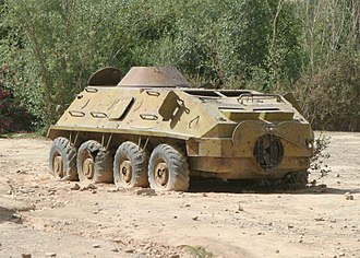 BTR-60 - A rusting BTR-60PB abandoned in the center of a village in Afghanistan's Oruzgan province.