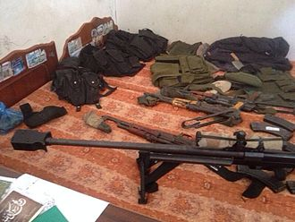 2014 Israel–Gaza conflict - Some of the weapons captured in Khan Yunis.
