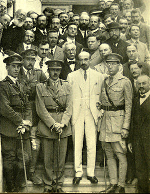 Zionist Commission - Chaim Weizmann and the Zionist Commission, 1918. Also pictured: Edwin Samuel, W.G.A. Ormsby-Gore, Israel Sieff, Leon Simon, James de Rothschild and Joseph Sprinzak.