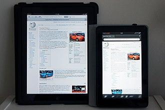 Amazon Fire tablet - Image: Wikipedia Kindle Fire & i Pad 1439