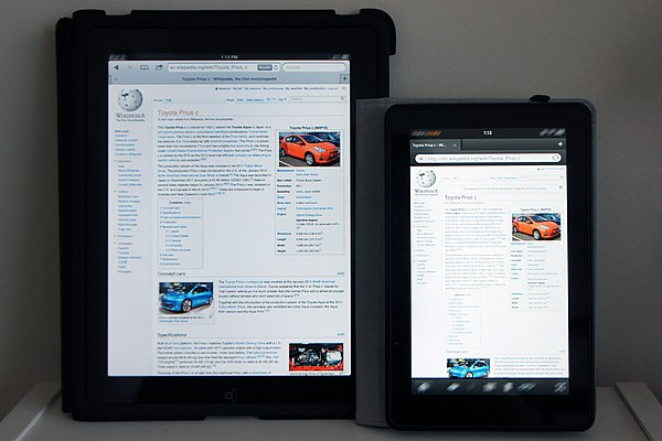 Apple's iPad (left) and Amazon's Fire (right), two popular tablet computers. Wikipedia Kindle Fire & iPad 1439.JPG