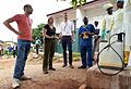 Will Pooley and Justine Greening visit an Ebola community care centre, Freetown, Sierra Leone (15491241800).jpg