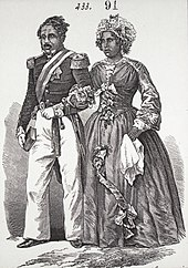 Engraving of Malagasy couple in 19th-century elegant European dress, walking arm in arm