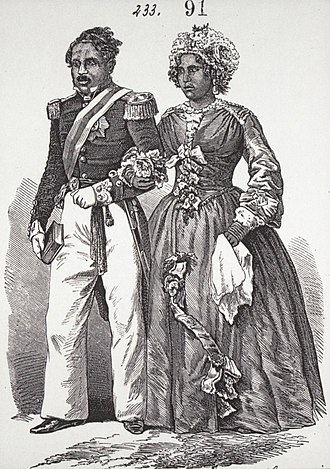 Radama II - King Radama II walks with his wife Rabodo, who would become Queen Rasoherina after the coup against her husband.