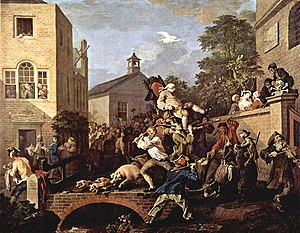 Work (painting) - Hogarth, Humours of an Election: Chairing the Member. An MP is being carried by his supporters, while a Tory rural labourer and a Whig urban entertainer fight one another