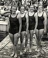Willy den Ouden, Rie Mastenbroek, Jo Timmermans, Jopie Selbach 1934.jpg