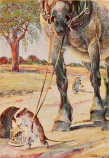 The Rat, carrying a bird cage, leads a horse by its reins on the road. Behind, the Toad stays sitting in the middle of the road. The rat is speaking to the Mole. Drawn by Paul Bransom.