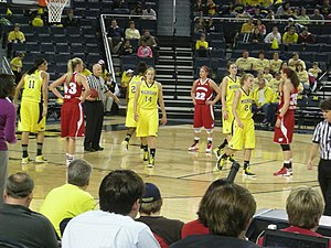 Michigan Wolverines women's basketball - Michigan and Wisconsin in action during the second half of their January 13, 2013 game.
