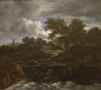 Wooded Landscape with a Waterfall by Jacob Van Ruisdael, San Diego Museum of Art.JPG