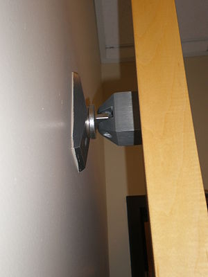 Fire door - Fire door held open by an electromagnet