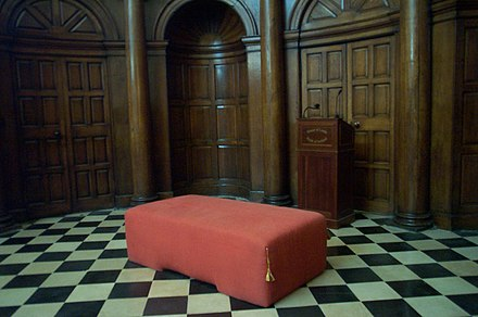 The Woolsack in the chamber of the House of Lords
