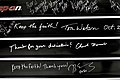 Words written in chalk by wounded warriors on a tool drawer show appreciation for Ryan Blanck and Johnny Owens, 2011.jpg