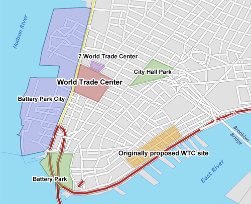 Location of World Trade Center (in red) and originally proposed site (in orange) Wtc locator map.png