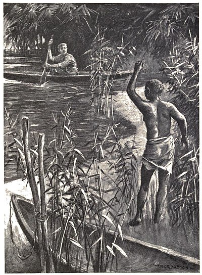 Scantily clad native woman waving to white canoeist, who can see more of her than we can