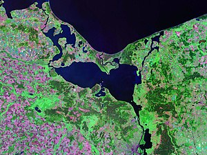 Wolin - Landsat satellite photo of Oder Lagoon - Wolin is the eastern of the two large islands separating the waters of the Lagoon from the Baltic Sea, the western island is Usedom