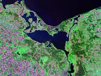 Szczecin Lagoon - Oder Lagoon - Landsat satellite photo (circa 2000)