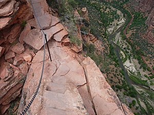Zion Canyon - Zion Canyon viewed from a narrow point on the Angel's Landing trail, showing the immense vertical relief