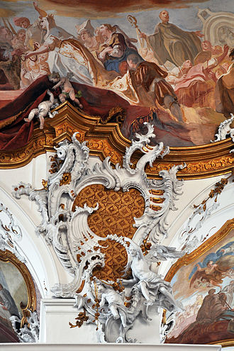 Rococo - Integrated rococo carving, stucco and fresco at Zwiefalten Abbey (1739–45)