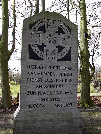 "Monument on Mount Saint Agnes in Zwolle ""Here lived Thomas van Kempen in the service of the Lord and wrote On the Imitation of Christ, 1406-1471"" Zwolle Begraafplaats Bergklooster Monument Thomas a Kempis.jpg"
