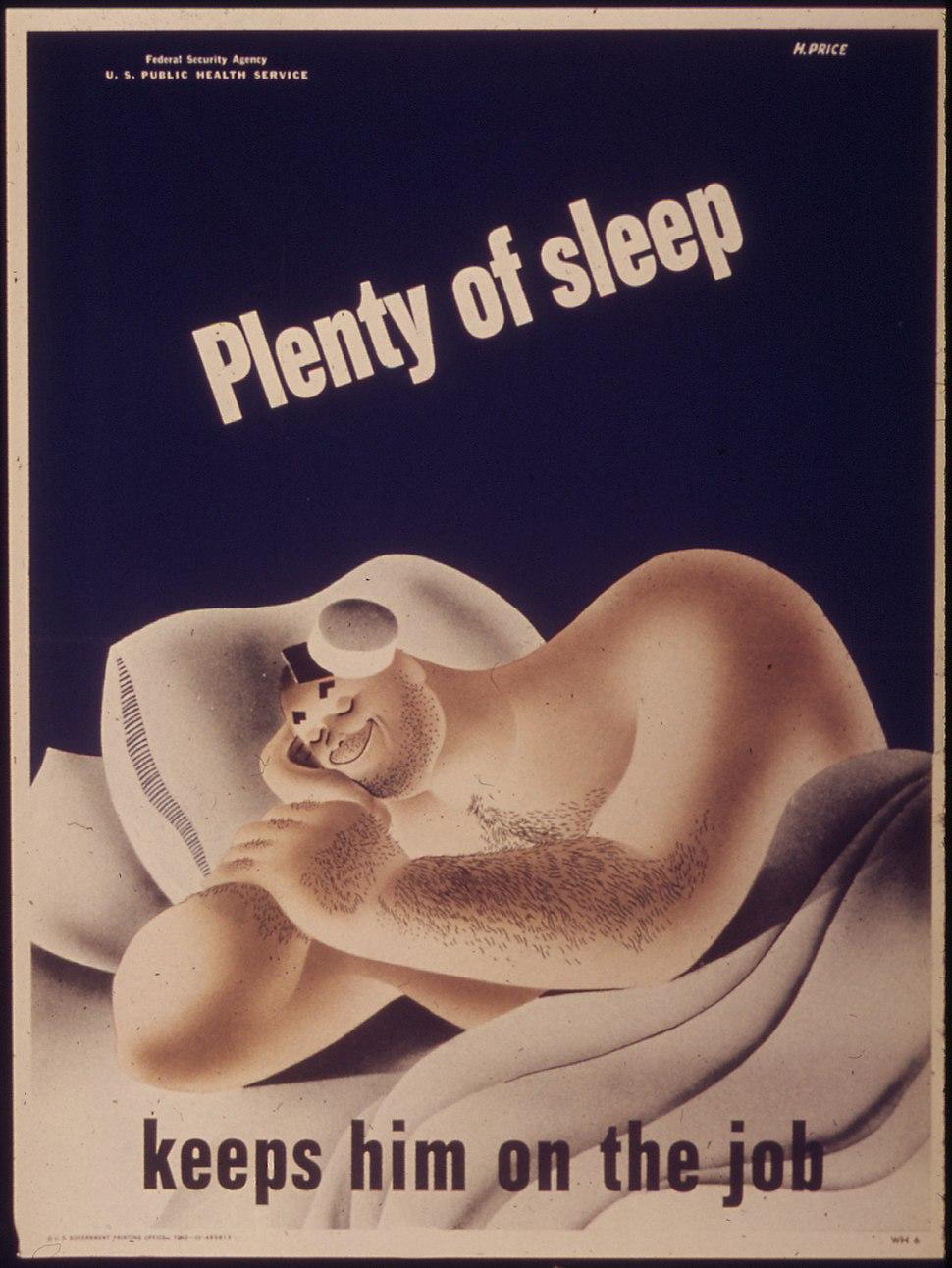 """""""Plenty of sleep keeps him on the job"""" - NARA - 514792"""
