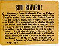 $100 bounty for runaway slave, Richards' Ferry, VA.jpg