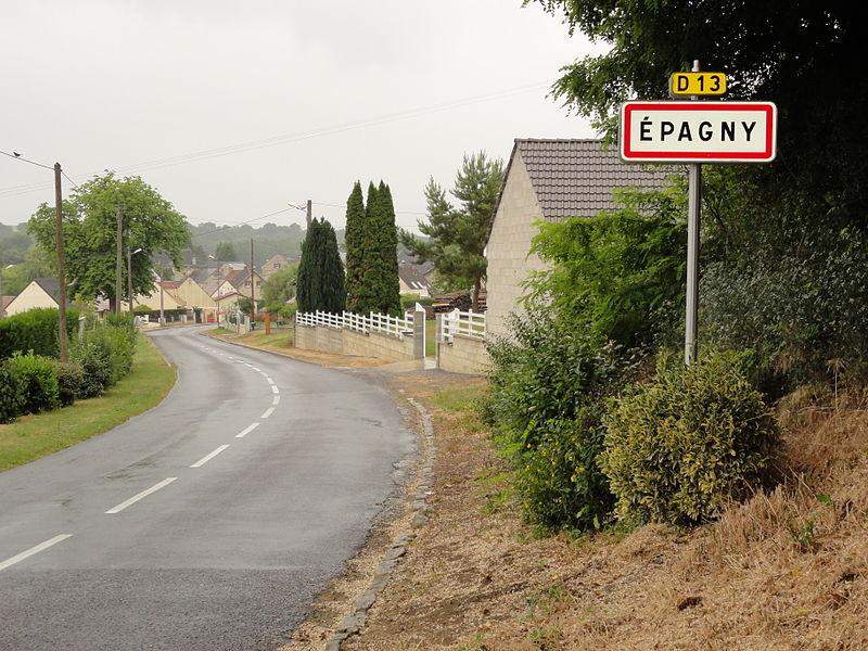Épagny (Aisne) city limit sign